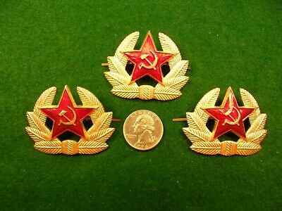 Lot Of 3 Nos, Vtg Russian Military Hat Pins, Red Star, Hammer/Sickle Gold Wreath