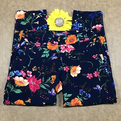 Old Navy Harper Cropped Straight Leg Pants Women Sz 2 Stretch Blue Floral ds382