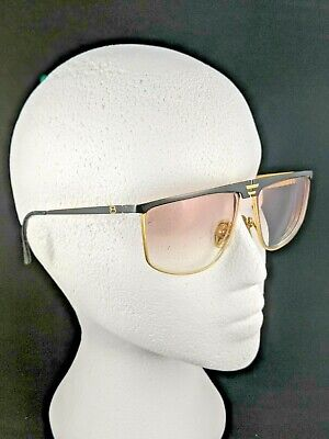 LAURA BIAGIOTTI Vintage 80's Rx Sunglasses FRAME ONLY Black Gold 57-21-140