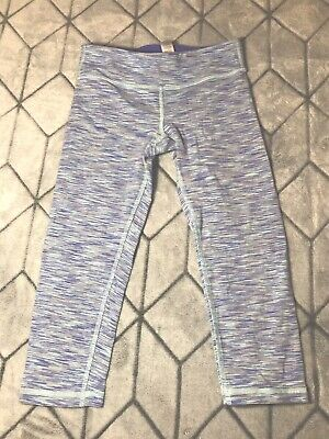 Girls Lululemon Ivivva Rhythmic Crop Capri Leggings Space Dye Size 10 Purple