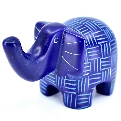 Tabaka Chigware Hand Carved Kisii Soapstone Blue Elephant Figurine Made in Kenya
