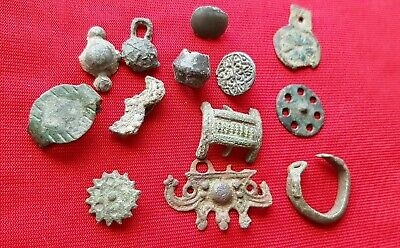 CELTIC - ROMAN ancient  bronze,copper artifact's ( pendants , decorations )