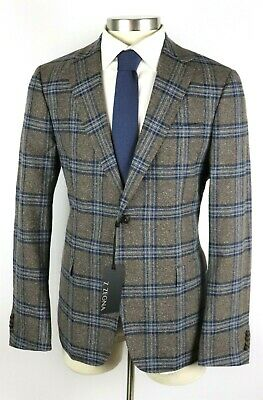 $1295 Z Zegna Turati Drop 8 Deco Brown Blue Check Wool Silk Coat Jacket 46 R