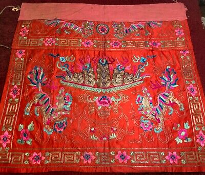 ANTIQUE EARLY 20th c CHINESE SILK FOO DOGS EMBROIDERED PANEL EMBROIDERY 95 cm L!