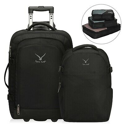Hynes Eagle 2 in 1 Travel Backpack 63L Carry on Luggage Rolling Wheeled Backpack