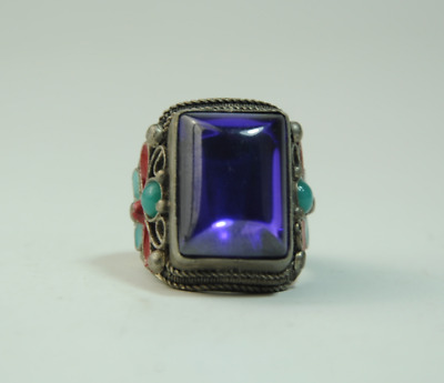 Old china cloisonne Miao silver inlay natural purple gem antique ring gift /Aa01