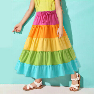 Kids Baby Girls Rainbow Long Pleated Dress Party Princess Pageant Casual Dress