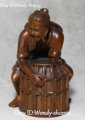 Rare China Boxwood Hand Carving Barrel People Person Old Man the Aged Sculpture
