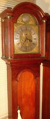 Antique Oak Brass Dial Automation Eyes  8 Day Grandfather / Longcase Clock
