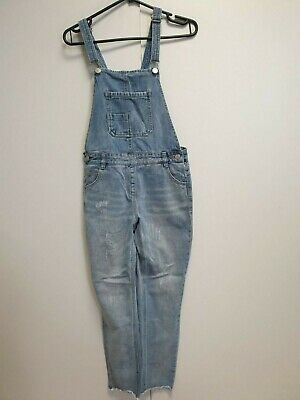 H626 Girls Next Faded Blue Skinny Distressed Denim Dungarees Age 12 W28 L27