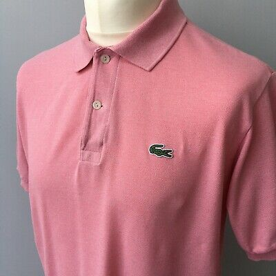 LACOSTE Devanlay Mens Polo Shirt Pink Short Sleeve Top Casual Size 5 LARGE