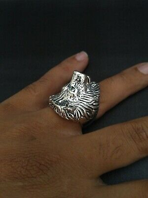 ANTIQUE OLD VINTAGE RARE UNIQUE VIKING Wolf Ethnic Silver handcraft Quality RING