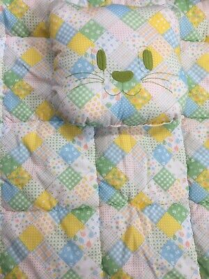 Vtg Patchwork Print Baby Blanket Embroidered Kitty Pillow Nursery USA Union Made