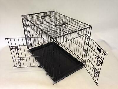 2 Door Black  Strong Heavy Duty Tough Dog Pet Cages Rattle Free