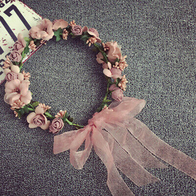 Womens Boho Headband Flower Hair Garland Crown Wedding Headpiece Wreath Floral