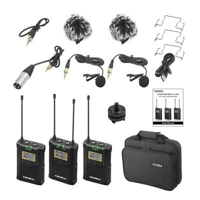 CoMica CVM-WM100 PLUS UHF 48-Channel Wireless Dual Lavalier Microphone Syst A8W6