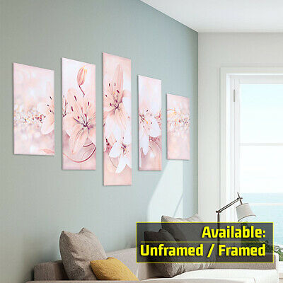 5Pcs Set Modern Abstract Flowers Canvas Print Painting Wall Art Picture Home UK