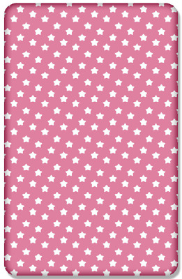 BABY FITTED COT SHEET 100%COTTON MATTRESS120x60cm,Big Stars On Pink
