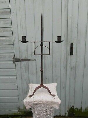 Late 18th century American Wrought iron adjustable candlestick / candelabra