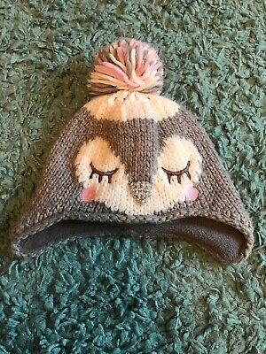 Mothercare - Baby Girls Owl Bobble Hat - 3-6 Mths