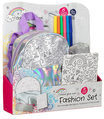Childrens Colour Your Own Fashion Stationery Set Unicorn Ages 6+