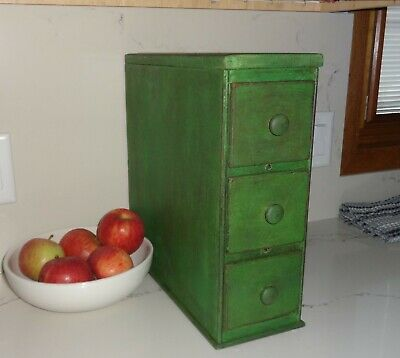 Antique Sewing Machine Drawers-Cabinet-Apothecary/Spice/Cupboard-Jade GreenPaint