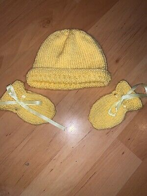 Baby Knitted Hat And Mittens