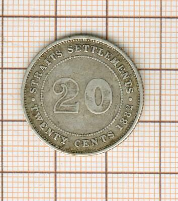 Malaysia Straits Settlements Silver Victoria 20 Cents 1882 H