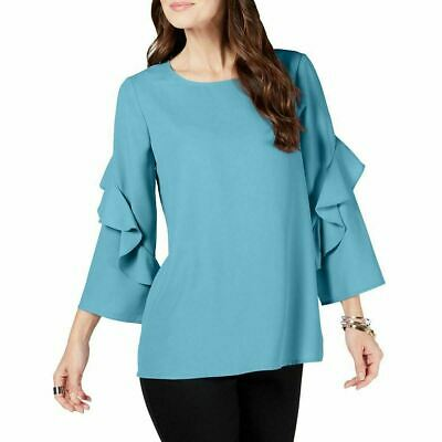 NEW Alfani Women's Long Ruffled-Sleeve Zip-Back Top Blue Size Medium