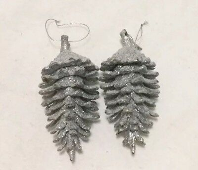 """A Pair Of Silver Glitter Large 6"""" Pinecones Christmas Ornaments Holiday Decor"""