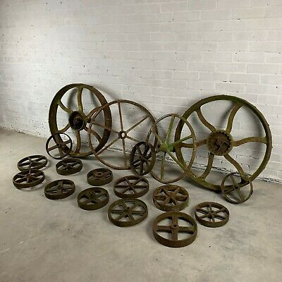 Batch of 18 Victorian Cast Iron Wheels in Various Sizes