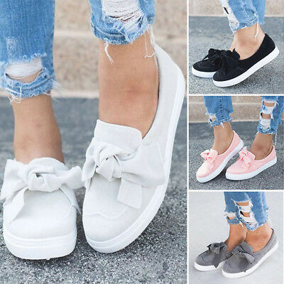 Womens Bow Pumps Sneakers Slip On Flat Ballet Shoes Casual Trainers Loafers Size