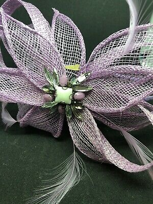 Lilac Jewel Headband Fascinator With Feathers Special Occasion Wedding Christen