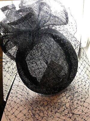 Vintage Pillbox Style Fascinator Black Net Wedding Funeral Occasion Races Ascot