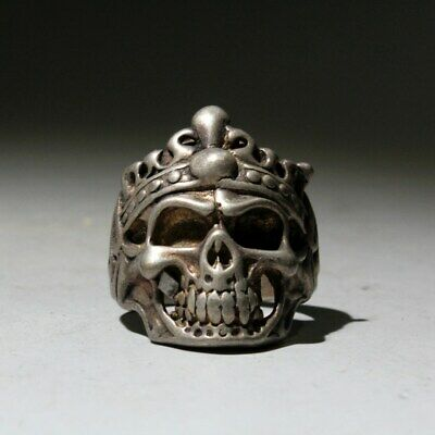 Collectable China Handwork Miao Silver Carve Skeletons Head Unique Exorcism Ring