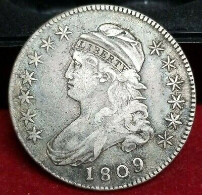 1809 50c. Capped Bust Half Dollar IIII Edge Scratched