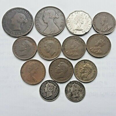 Lot Of Old Canadian Coins. Large/Small Copper, Other Silver Coins 1800'S-1900'S