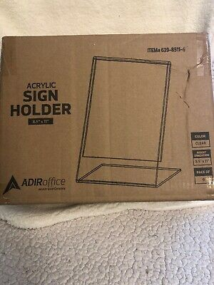 "ADIR Office Acrylic Sign Holder 8.5x11"" Pack Of 6"