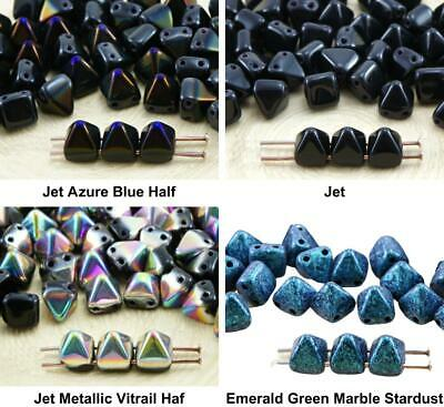 16pcs Opaque Turquoise Green Pyramid Stud Two Hole Czech Glass Beads 6mm x 6mm
