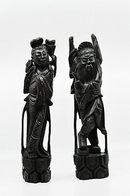 Antique Chinese Carved Black Wooden Figurines, 15 Inches tall -🐘