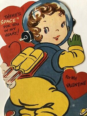 Vintage Valentine Card GIRL ASTRONAUT SPACE SUIT JETPACK MOON PLANETS Signed EUC