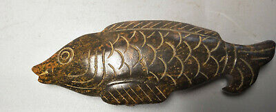 Exquisite Hand-carved old jade fish Pendant M448