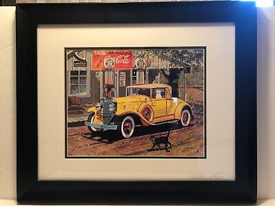 Coca-Cola Sinclair Gas Station Fred Deaver Americana Print Yellow Cord Cabriolet
