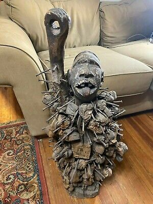 30.0 Inches Tall Magnificent Antique African Konde Fetish Male Wood Nail Statue
