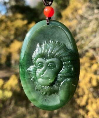 Genuine Nephrite Jade Carved Monkey Pendant Necklace