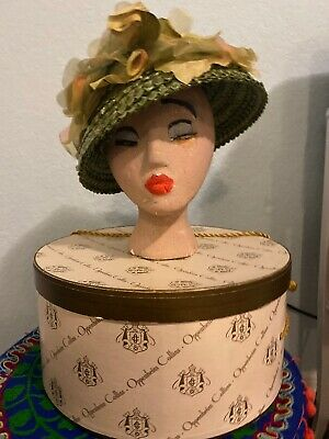Vintage  Collins Brown and green Hat Box And Hat