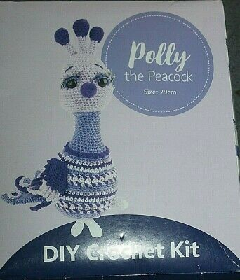 NEW in Box - POLLY THE PEACOCK CROCHET KIT - everything needed to make peacock