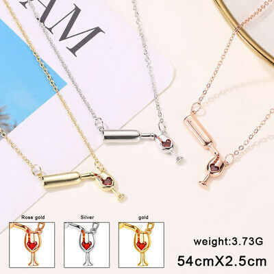 Women Girls Love Heart Wine Bottle Cup Pendant Chain Necklace Charm Jewelry Gift