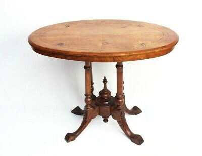 Antique Victorian Inlaid Walnut Oval Occasional Table [5950]