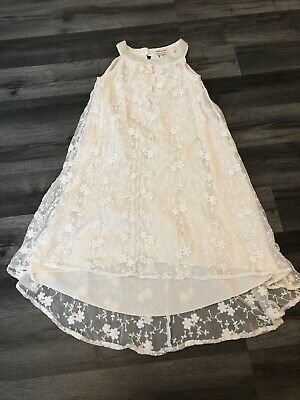 River Island Girls White Lace Style Dress Bling Age 4 Summer Wedding Occassion